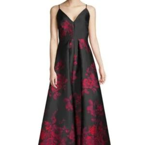 Calvin Klein Floral Plunge Gown Black and Red